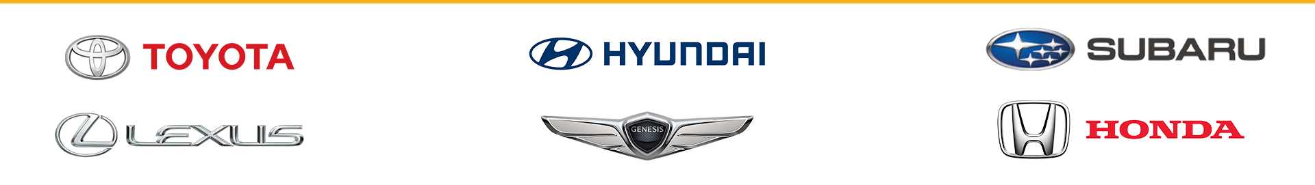 Brands we service: Toyota, Hyundai, Subaru, Lexus, Genesis, and Honda.